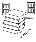 Books and a pen coloring page Royalty Free Stock Photography