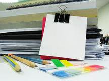 Books,pencil,clip and white blank note Royalty Free Stock Images