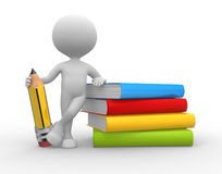 Books and a pencil. 3d people - man, person with books and a pencil Stock Photo