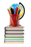 Books, pencils and globe Royalty Free Stock Photography