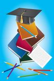 Books, pencils and a hat graduate. Stock Images