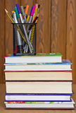 Books, pencils and pens Royalty Free Stock Images