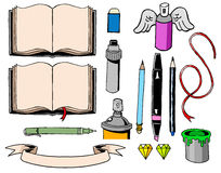 Books and pens. Some office and art objects Stock Photos