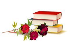 Books and peonies, vector illustration flowers education vector illustration