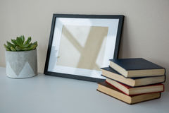 Books with picture frame and pot plant Stock Photo