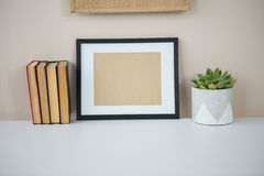 Books with picture frame and pot plant Stock Photography