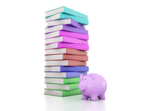 Books with Piggy Bank. 3D Rendering Image Royalty Free Stock Photos