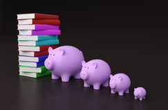 Books with Piggy Bank. 3D Rendering Image Royalty Free Stock Photo