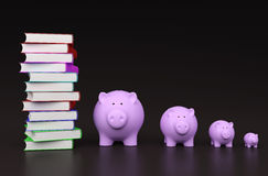 Books with Piggy Bank. 3D Rendering Image Royalty Free Stock Photography