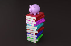 Books with Piggy Bank. 3D Rendering Image Stock Photos