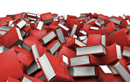Books pile. 3D render of very large pile of books Stock Photos