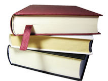 Books pile. With bookmark ribbon, clipping path Stock Photography