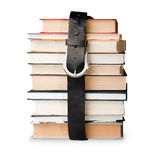 Books pile with belt Royalty Free Stock Photography