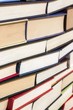 Books pile. Large stack of hardcover books in various colors Royalty Free Stock Image