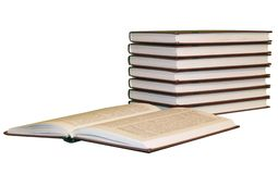 Books pile with one opened royalty free stock photos