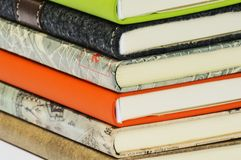Books. A pile of books in several colours Royalty Free Stock Images
