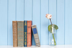 Books pile and white rose in the bottle Stock Photography