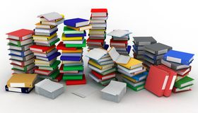 Books piles and folders. 3d illustration of books piles and folders Stock Image
