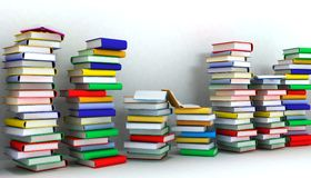 Books piles and wall Royalty Free Stock Images