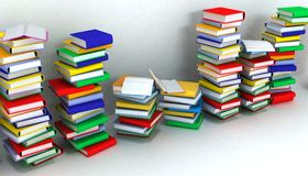Books piles and wall Stock Image