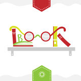 Books placed on a bookshelf with glasses. Illustration of books placed on a bookshelf with glasses for your design Royalty Free Illustration