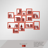Books placed on a bookshelf. Illustration eps 10 Royalty Free Stock Photo