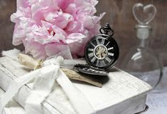 Books, Pocket Watch, Peony, Flacon Royalty Free Stock Images