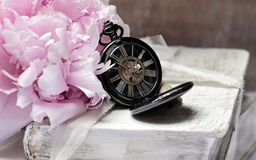 Books, Pocket Watch, Peony, Worn Royalty Free Stock Image