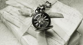 Books, Pocket Watch, Worn, Old Royalty Free Stock Image