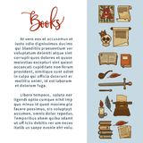 Books literature vector poster of poetry writer writing stationery and novel or detective icons. Books poster of poetry reading vintage novel skull, writer Stock Photography
