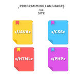 Books on programming languages. The falling shadow. Java, php, html, css. Web icons for your projects. Vector illustration in a fl. Multicolored books on Stock Images
