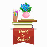 Books in public library, back to school and education concept in card or banner Stock Photography