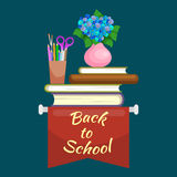 Books in public library, back to school and education concept in card or banner Stock Images