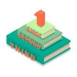 Books pyramid infographic. Isometric flat vector Royalty Free Stock Photo