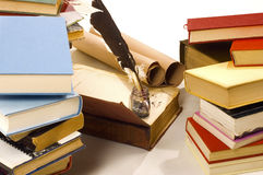 Books and quill and ink well Royalty Free Stock Image
