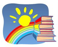 Books and rainbow Royalty Free Stock Image