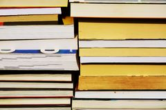 Books. Raw of books and notebooks. Royalty Free Stock Image