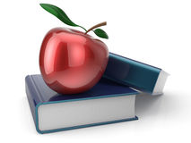 Books and red apple back to school learning Stock Photos