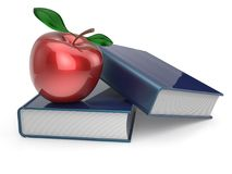 Books red apple education studying textbook reading concept. Books red apple textbook education studying reading learning school college knowledge wisdom idea Stock Image