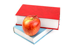 Books and red apple Royalty Free Stock Photos