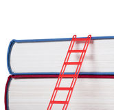 Books with a red ladder. Isolated on white background Stock Photos