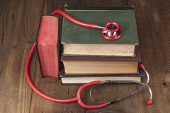 Books and Red Stethoscope Stock Photography