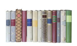 Books in a row, isolated, free copy space Stock Photos