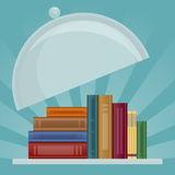 Books on salver. Knowledge is served Royalty Free Stock Image