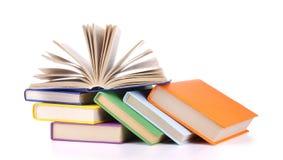 books sammansättning isolerad buntwhite Royaltyfria Foton