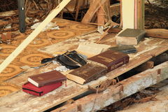 Books saved after typhoon. Bible and other books saved after typhoon on east coat of Babeldaob island in Palau Royalty Free Stock Images