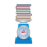 Books on the scales. Royalty Free Stock Photo