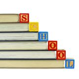 Books and SCHOOL blocks Royalty Free Stock Image