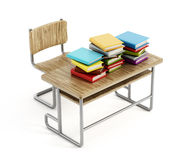 Books on school desk Stock Photo