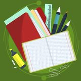 Books and school process. Writing Drawing in zoshite. Office prednadlezhnosti study subjects. Back to . Books and school process. Writing and Drawing in zoshite Royalty Free Stock Images